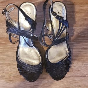 Black Glitter Adrianna Papell Heels 10
